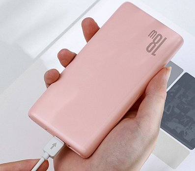 Аккумулятор внешний  BASEUS 10000mAh 18W PD+QC Quick Charge Portable Power Bank - Pink