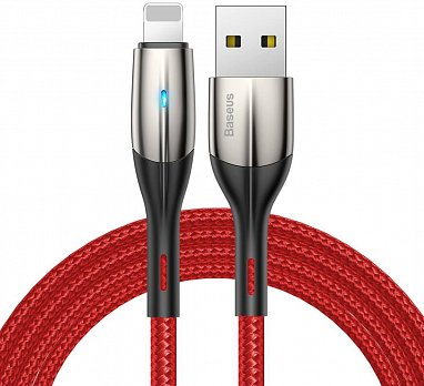 Кабель Baseus Horizontal Data Cable(With An Indicator Lamp)USB For iP 2.4A 1m Red